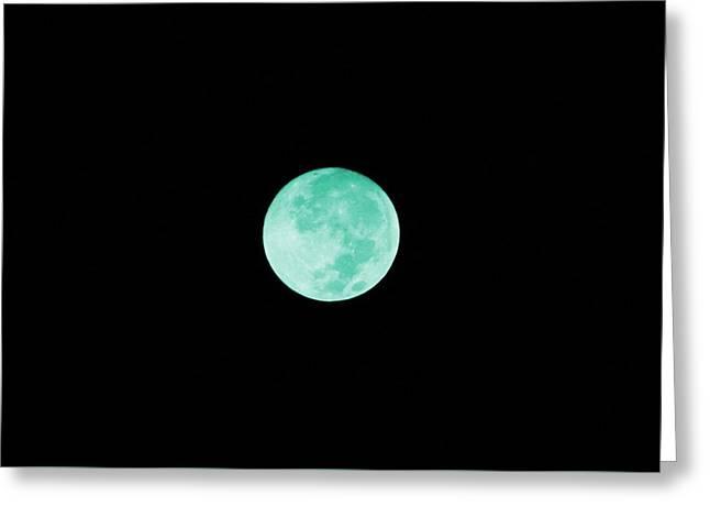 Aqua Moon Greeting Card