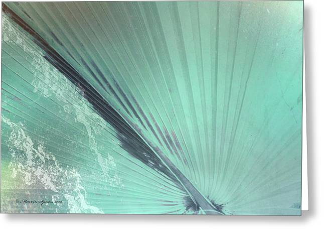 Aqua Palm Frond Lh Greeting Card