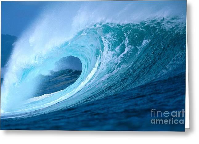 Aqua Wave Greeting Card by Vince Cavataio - Printscapes