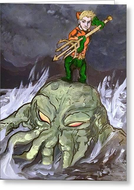 Aquaman Rides Cthulhu Into Battle Greeting Card by Siobhan Shene