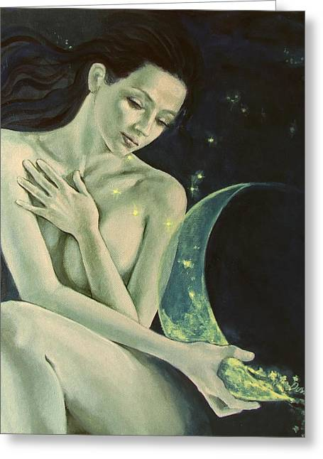 Live Paintings Greeting Cards - Aquarius from  Zodiac signs series Greeting Card by Dorina  Costras