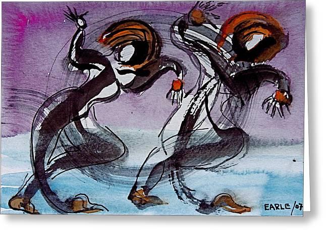 Aquatic Dancers Greeting Card by Dan Earle