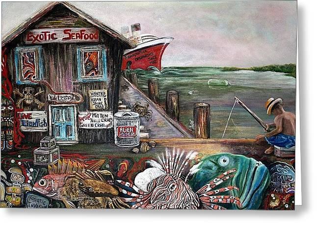 Algae Paintings Greeting Cards - Aquatic Invasion Greeting Card by Laura Barbosa