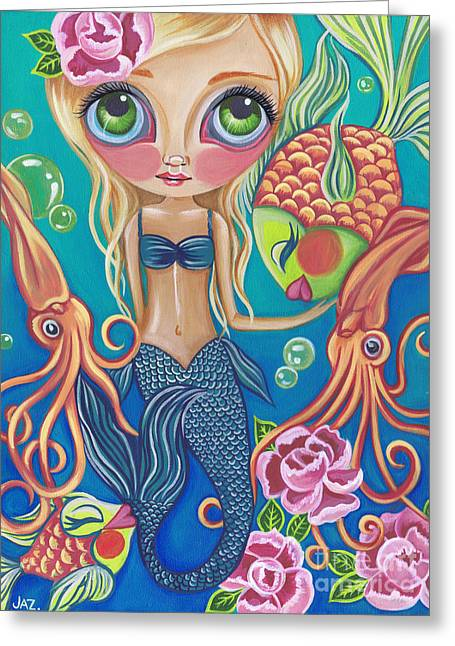 Best Sellers -  - Flower Pink Fairy Child Greeting Cards - Aquatic Mermaid Greeting Card by Jaz Higgins