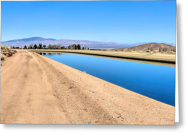 Aqueduct And The Tehachapi Mountains Greeting Card