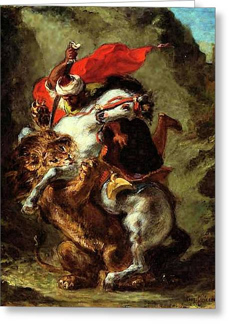Greeting Card featuring the painting Arab Horseman Attacked By A Lion by Eugene Delacroix