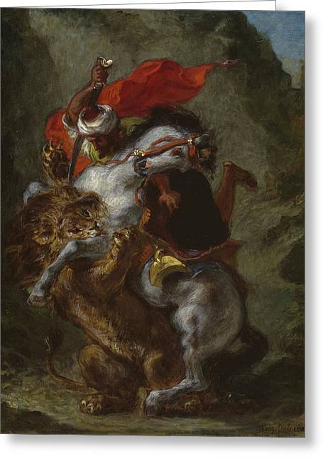 Arab Horseman Attacked By A Lion Greeting Card by Ferdinand Victor Eugene Delacroix