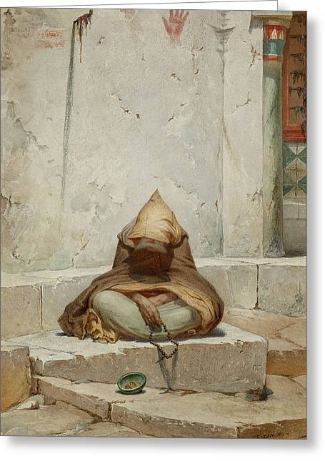 Arab Mendicant In Meditation Greeting Card