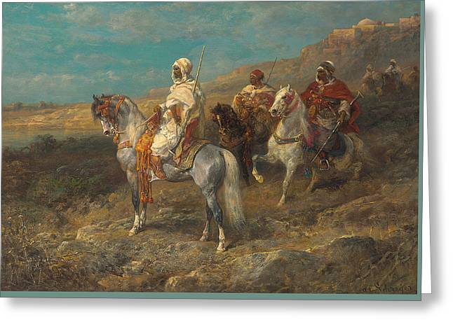Arab On A White Horse Greeting Card by Adolf Schreyer