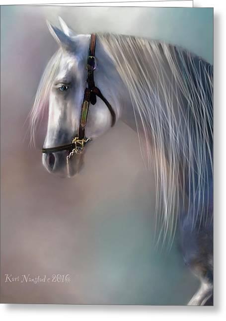 Arabian Grey Greeting Card by Kari Nanstad
