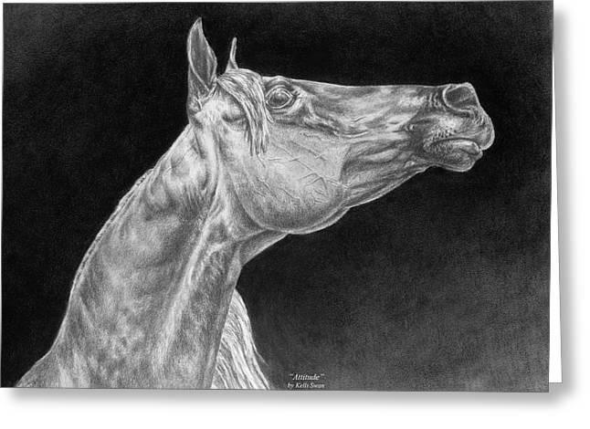 Arabian Horse Attitude Print Greeting Card by Kelli Swan