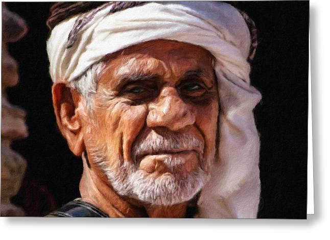 Arabian Old Man Greeting Card by Vincent Monozlay