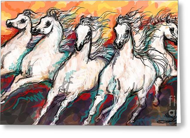 Arabian Sunset Horses Greeting Card