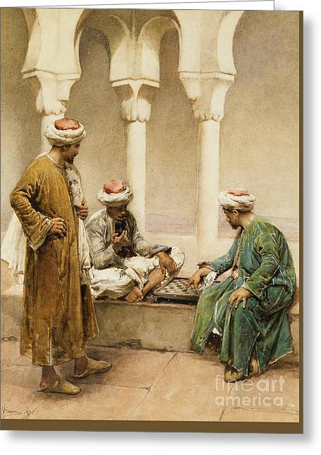 Arabs Playing Chess Greeting Card