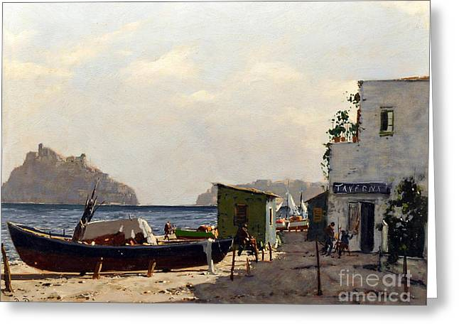 Greeting Card featuring the painting Aragonese's Castle - Island Of Ischia by Rosario Piazza