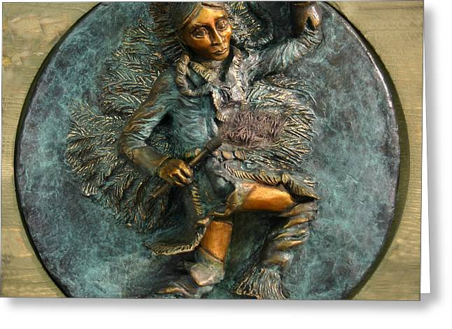 Greeting Card featuring the relief Arapaho Dancer From Snowy Range Life  by Dawn Senior-Trask