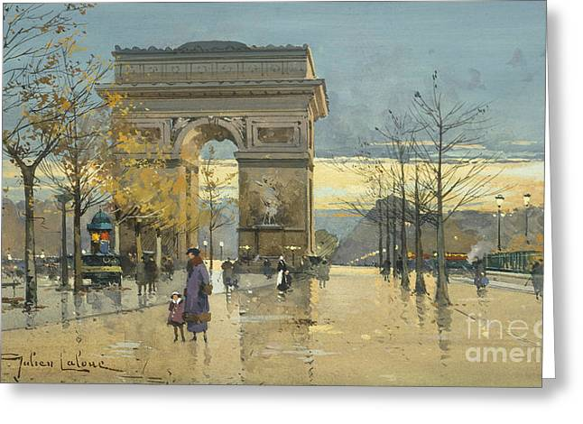 Arc De Triomphe Greeting Card by Eugene Galien-Laloue