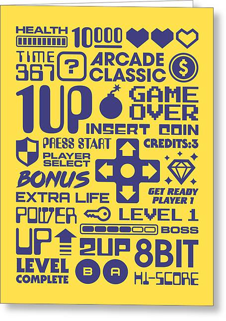 Arcade Game Text Interface Graphics - Yellow Greeting Card