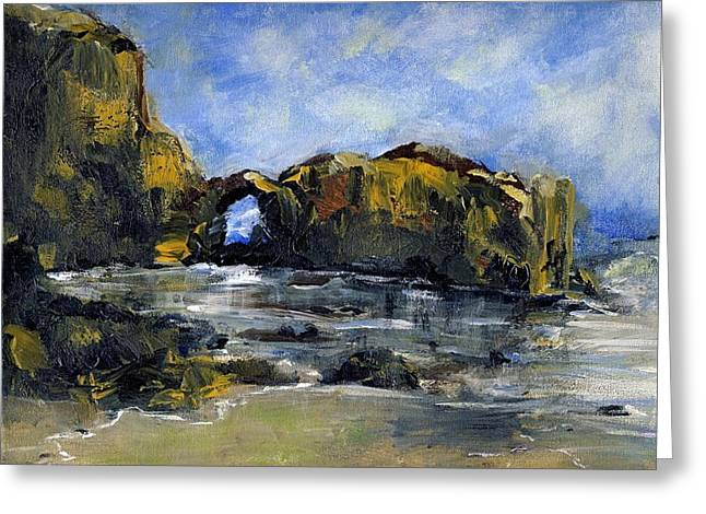 Arch At Pearl Beach Over Cast Greeting Card by Randy Sprout