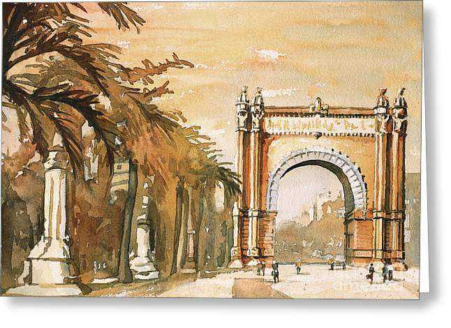 Greeting Card featuring the painting Arch- Barcelona, Spain by Ryan Fox
