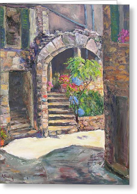 Arch Of Eze Greeting Card by Albert Fendig