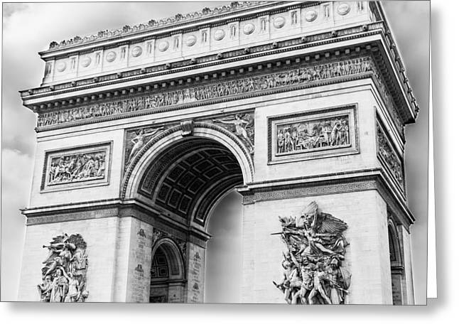 Arch Of Triumph - Paris - Black And White Greeting Card