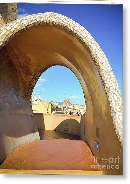 Greeting Card featuring the photograph Arch On The Rooftop Of The Casa Mila by Colleen Kammerer