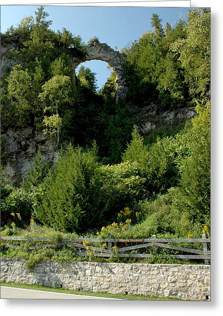 Greeting Card featuring the photograph Arch Rock Mackinac Island by LeeAnn McLaneGoetz McLaneGoetzStudioLLCcom