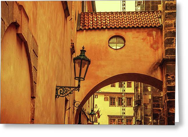 Greeting Card featuring the photograph Arch Way In Old Town. Series Golden Prague by Jenny Rainbow