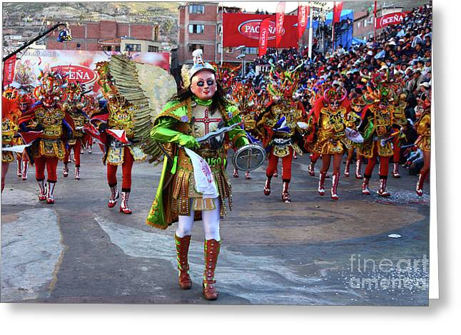 Archangel Michael Leading Devils At Oruro Carnival Bolivia Greeting Card by James Brunker