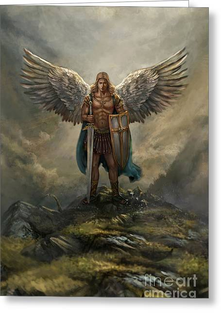 Archangel Michael Greeting Card by Robert Greco