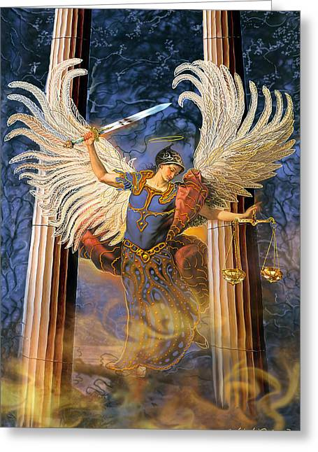 Greeting Card featuring the painting Archangel Raguel by Steve Roberts