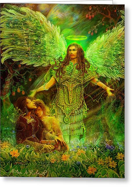 Greeting Card featuring the painting Archangel Raphael by Steve Roberts