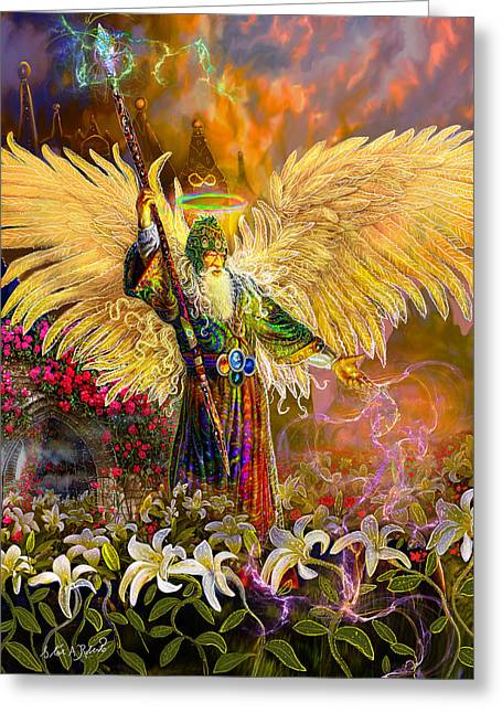Greeting Card featuring the painting Archangel Raziel-angel Tarot Card by Steve Roberts