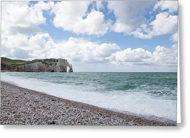 Arch At Etretat Beach, Normandie Greeting Card
