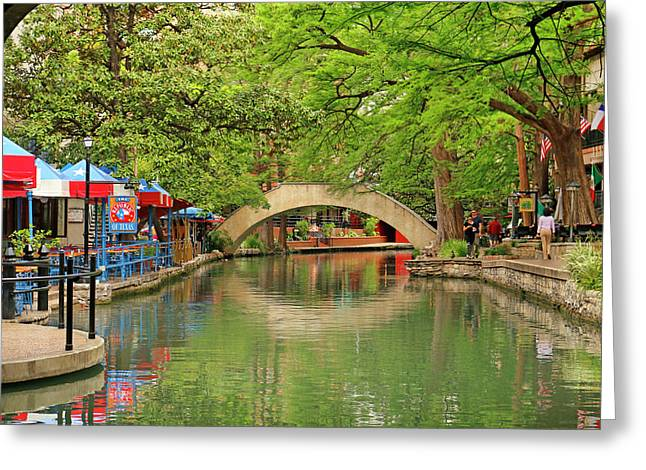 Greeting Card featuring the photograph Arched Bridge Reflection - San Antonio by Art Block Collections