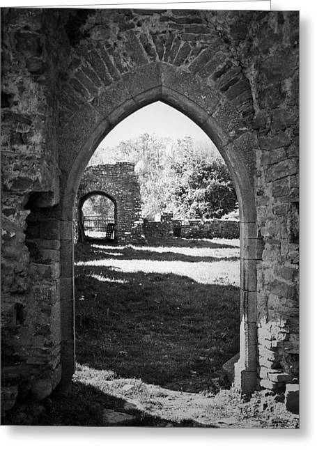 Arched Door At Ballybeg Priory In Buttevant Ireland Greeting Card by Teresa Mucha