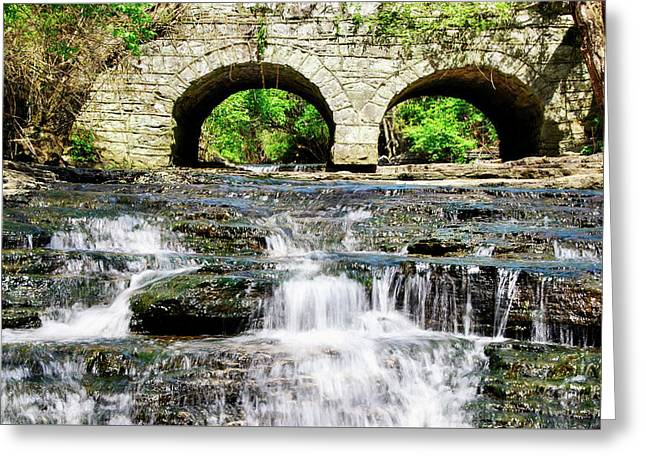 Arches And White Water Greeting Card by Rebecca Higgins