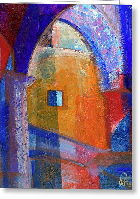 Greeting Card featuring the painting Arches And Window by Walter Fahmy