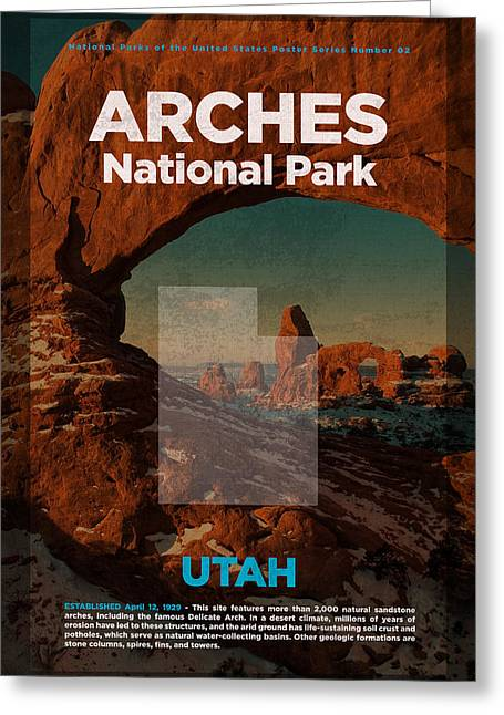 Arches National Park In Utah Travel Poster Series Of National Parks Number 02 Greeting Card