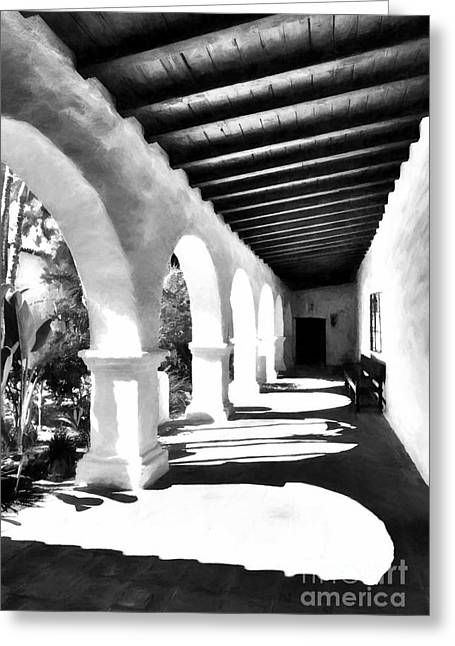 Arches Of Southern California Bw Greeting Card