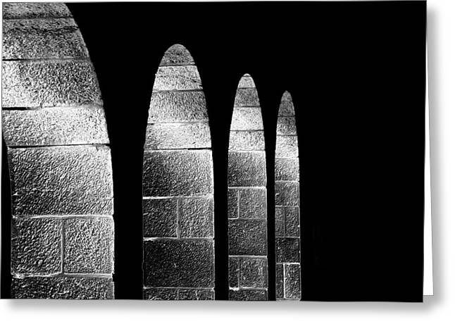 Arches Per Israel - Black And White Greeting Card by Deb Cohen