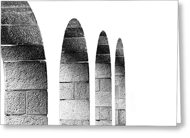 Arches Per Israel - White And Black Greeting Card by Deb Cohen