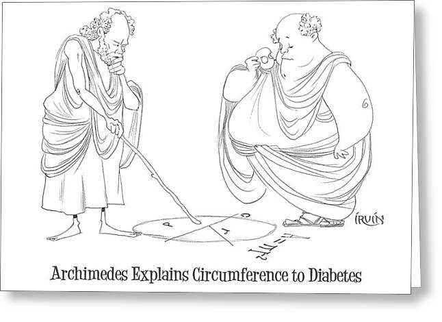 Archimedes Explains Circumference To Diabetes Greeting Card