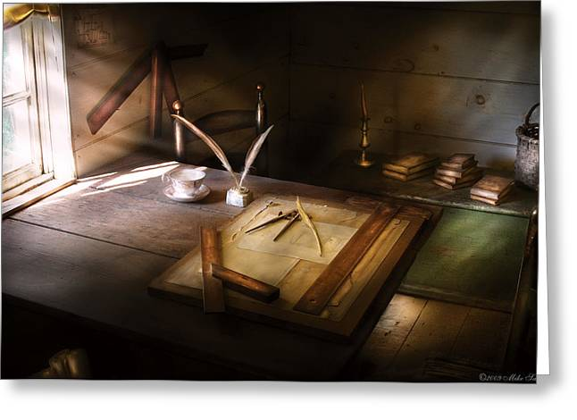 Architect - The Drafting Table  Greeting Card by Mike Savad