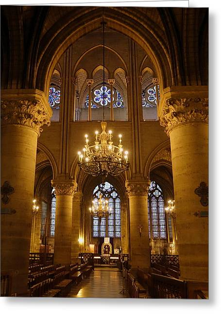 Architectural Artwork Within Notre Dame In Paris France Greeting Card