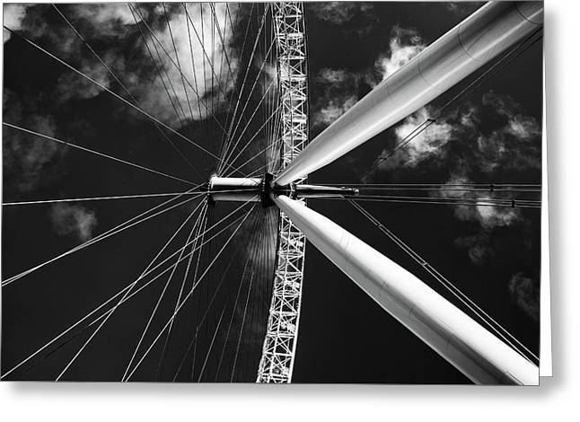 Greeting Card featuring the photograph Architectural Details Of The Metallic Structure Of A Ferris Whee by Michalakis Ppalis