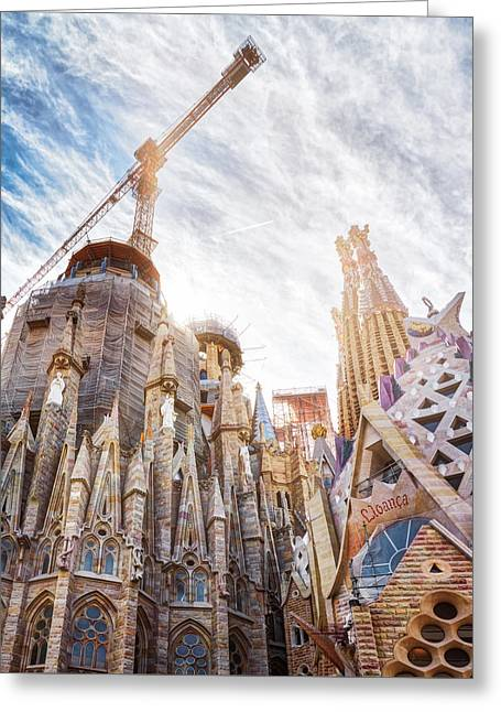 Architectural Details Of The Sagrada Familia In Barcelona Greeting Card
