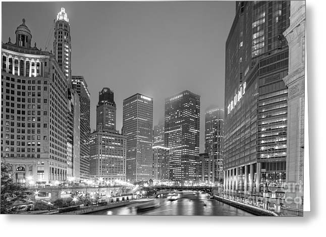Architectural Image Of The Chicago River And Skyline From The Wrigley Building - Chicago Illinois Greeting Card by Silvio Ligutti