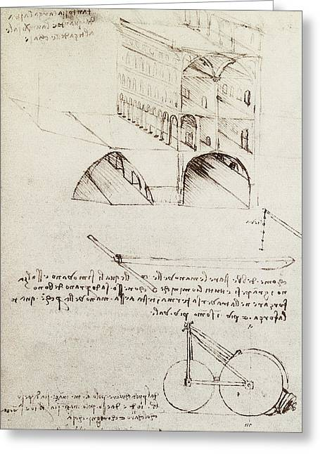 Architectural Study Greeting Card by Leonardo Da Vinci